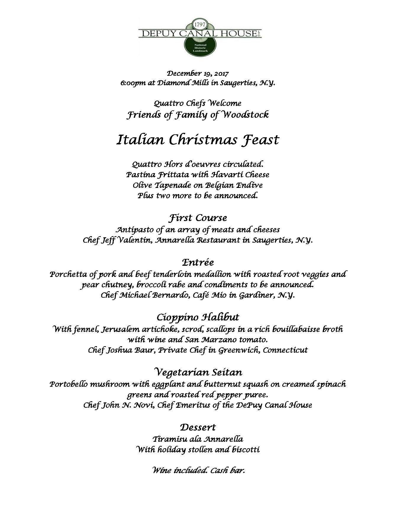 click here for the menu tickets can be purchased here or by phone by calling jess davis at 845 331 7080 x105 - Italian Christmas Menu