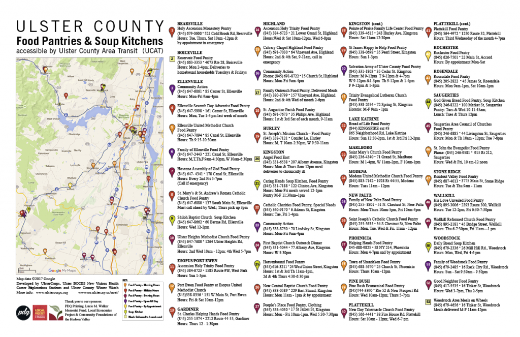 Ulster County NY Food Pantry Map